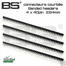 lot 4x Barrettes coudées headers 40 pin Mâle sécable 2.54mm Arduino FR exp j+0