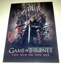 """GAME OF THRONES CAST X3 PP SIGNED POSTER 12""""X8"""" SEAN BEAN"""
