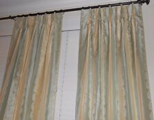 Robert Allen Silk Drapes Stripes small floral Custom Curtains new PAIR