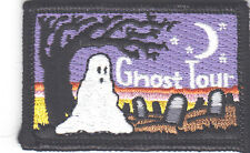 """GHOST TOUR"" IRON ON PATCH - HALLOWEEN - SCARY - GHOSTS - GRAVEYARD - MOON"