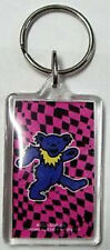 GRATEFUL DEAD KEYCHAIN Purple Bear on Pink/Blk Check Background  OFFICIAL MERCH