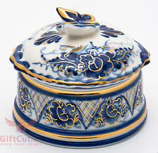 """Beautiful Gzhel Porcelain """"butterfly"""" trinket Box hand-painted in blue and gold"""