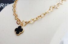 NEW Luxury Black Clover Pendant Bib Necklace Gold Tone Plated Chain Women Dress