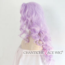 Light Purple Lace Front Wig Synthetic Hair Long Wavy Wigs Heat Safe For Women UK