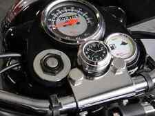 British Made Grooved Royal Enfield® Billet Stem Nut Cover with Black Clock