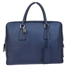 Authentic PRADA Men's Briefcase Hand Bag Leather Navy Blue Italy Padlock 65D883