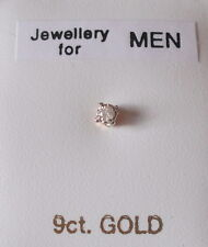 Brand New Men's 'SINGLE' 9ct gold & 0.025ct diamond 2mm square stud earring