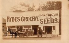 Real Photo Postcard Hyde's Grocery Store, Hay-Grains & Seed in Oregon~108217