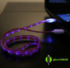 Red Cable w/ Blue LED Micro USB Cell Phone Charger - Glow Light Up Glo Cute USA