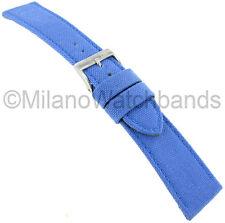 22mm Morellato Padded Stitched Genuine Cordura Canvas Light Sky Blue Watch Band