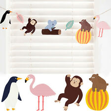 Cartoon Animal 7 Flags Birthday Party Forest Animal Banner Bunting Hanging Decor