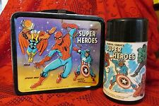 Super Heroes 1976 Vision Fantastic 4 Marvel Vintage Metal Lunchbox & Thermos
