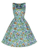 Elegant 40's 50's Style Turquoise Floral Bridesmaid Party Prom Tea Dress 8 - 18