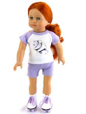 """Lavender Roller Skate Short Set Fits 18"""" American Girl Doll Clothes"""