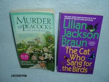 "2 MYSTERY PAPERBACKS-""MURDER WITH PEACOCKS"" & ""THE CAT WHO SANG FOR THE BIRDS"""
