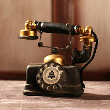Vintage Decorative Rotary Telephone Statue Antique Cord Old Phone Model Figurine