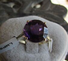 4.80 cts Genuine Zambian Amethyst Solitaire Size 7 Ring 10k Yellow Gold Accents