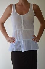 Witchery Women's White Sleeveless Top 100% Cotton Button Down Blouse Shirt Sz M