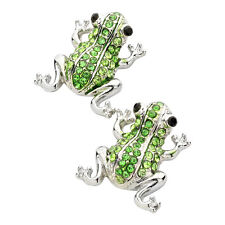 Green Frog Fashionable Earrings - Stud - Sparkling Crystal - Silver Plated