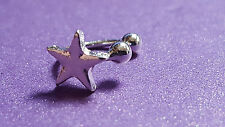 New-  SILVER - STAR - EAR CUFF UPPER HELIX CARTILAGE CLIP EARRING GIFT UK (d7)