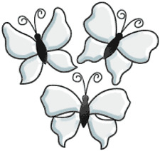 Clear Glass Butterfly Bevel Clusters - Set of 3  BL05