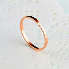 1 PCS SIMPLE SMOOTH ROSE GOLD GP SURGICAL STAINLESS STEEL BAND RING SIZE 4-8