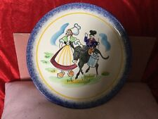 French MBFA Le Havre Porric Plate,Quimper Style Boy on Donkey