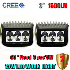 "2 x 3"" 15W Cree Flood LED Work Light Bar Dome Truck Jeep Car Lamp Off Road SUV"
