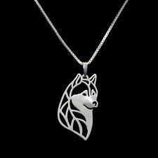 ❤️ Halskette mit Anhänger Siberian Husky Hunde Kopf, necklace