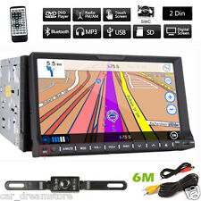 "HD 7"" In Dash Double 2 Din Car Stereo DVD Player GPS Navigation Bluetooth+CAMERA"