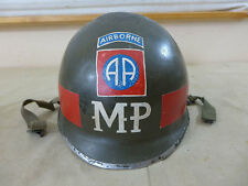#141 US 82nd AIRBORNE POLICE MP HEADQUARTER HELMET M1 Stahlhelm Militärpolizei