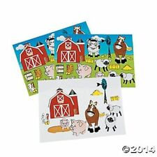 12 Make A Farm Barnyard Scene Sticker Sheets Kids Crafts Birthday Party Favors