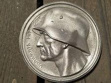 """Ehrenschal -  """"Vorwärts mit Gott"""" Relief -  Wehrmacht Soldat 15x15cm Metallguss"""