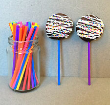 "50 Plastic Lollipop Sticks - 7 Color Rainbow Lollipop Sticks - 4 1/2"" x 5/32"""