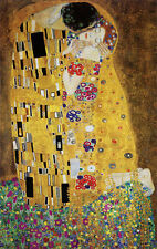 Gustav Klimt The Kiss Abstract Romantic Love Cool Warm Colors Print Poster 13x19