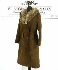 Women's VTG 70's Brown Suede Leather REAL FOX FUR COLLAR Belted Coat Boho UK 14