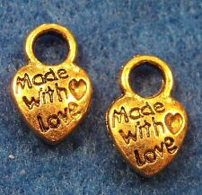 "100Pcs. WHOLESALE Tibetan Antique Gold ""Made w/ Love"" HEART Charms Tags Q0390"