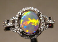 Brilliant Harlequin Pattern  Australian Opal  Diamond Ring 14k White Gold