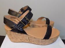 STEVE MADDEN NEW Buttercup Black/Tan Leather Cork Wedge Sandals Shoes sz 10