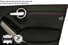 RED STITCH 2X FRONT DOOR CARD TRIM LEATHER COVER FITS FIAT 500X 500 X  14-17