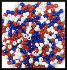 """200 USA Made Red White Blue Pony Beads July 4th Independence Day 3/8"""" 9mm"""