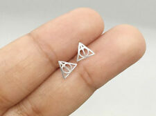 925 Sterling Silver Harry Potter Inspired Stud Earrings Deathly hallows Jewelry