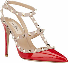 New VALENTINO Rockstud Slingback Pumps Shoes Size 9.5 red patent