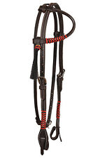 Western Dark Oil Leather One Ear Style Rawhide Braided Headstall /Tassel
