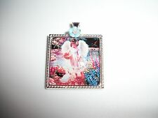 JEWELRY NECKLACE PENDANT 25x25mm CAMEO CABOCHON ANGEL FEEDING DUCK BY CREEK OOAK