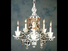 "Dollhouse Miniature Lighting Electrical CHANDELIER ""WHITE TEACUP"""