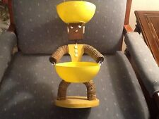 Vintage Folk Art Bottle Cap Man With Yellow Bowls And Earrings Tramp Art