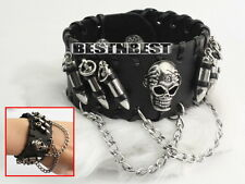 Bracelets cuir noir surmonté de têtes de mort et de clous en métal be6e
