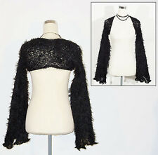 Gothic super fluffy black shrug/sleeves S/M 6/8/10 NEW Steampunk/Punk/Rave