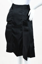 Prada Black Ruffle Long A-Line Skirt SZ 42